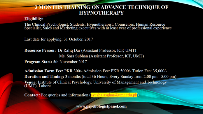3 months training on advance technique of Hypnotherapy