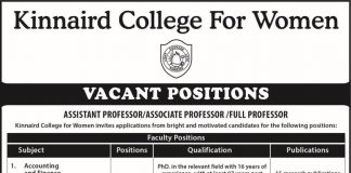 Kinnaird College For Women Faculty Positions Vacant