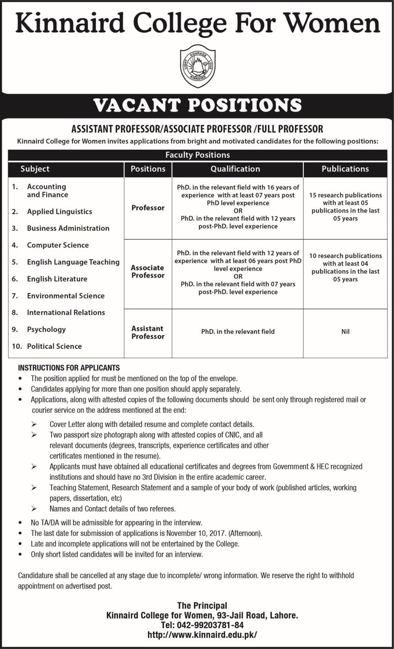 kinnaird college for women faculty positions vacant. Black Bedroom Furniture Sets. Home Design Ideas