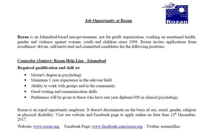Job for Psychologists in Pakistan