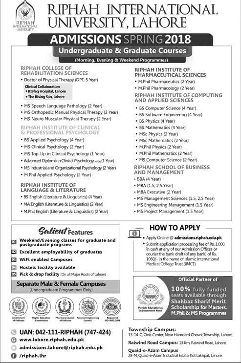 ADMISSIONS OPEN AT RIPHAH INTERNATIONAL UNIVERSITY, LAHORE