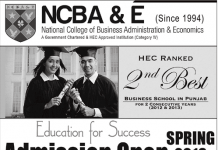 National College of Business Administration and Economics (NCBA&E) Admissions