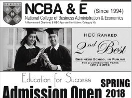 National College of Business Administration and Economics(NCBA&E) Admissions