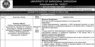 Faculty Required at University of Sargodha
