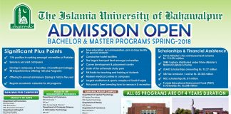Admissions Open at The Islamia University of Bahawalpur