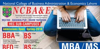 Admissions Open at National College of Business Administration and Economics