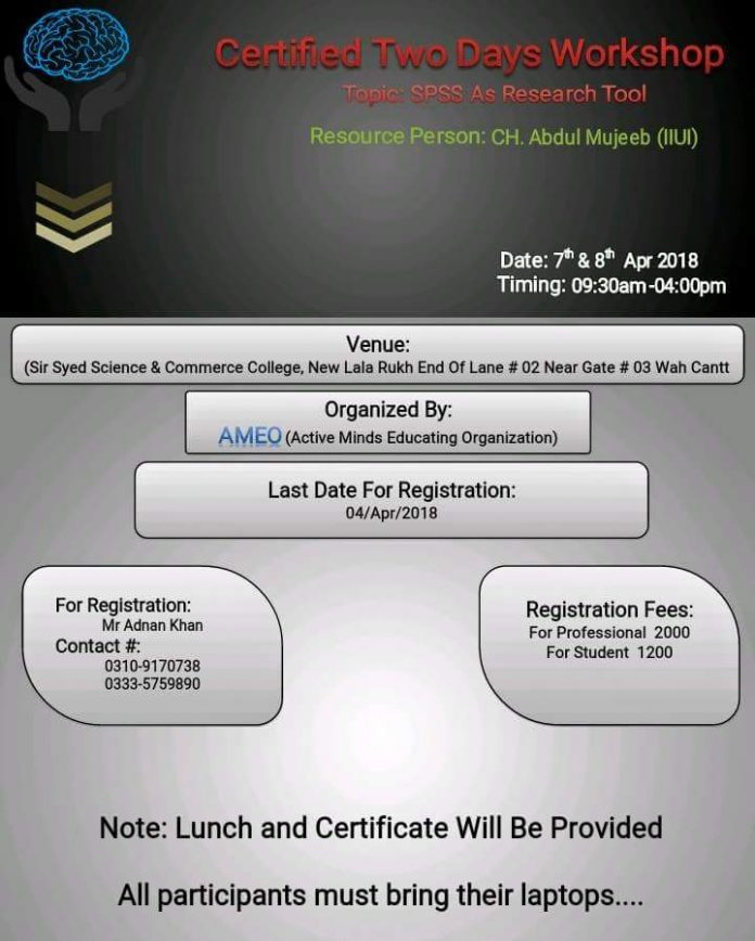 Certified Two-Day Workshop on SPSS as Research Tool