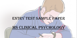 Entry Test Sample Paper MS Clinical Psychology