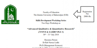 Two Days Workshop on Advanced Qualitative & Quantitative Research
