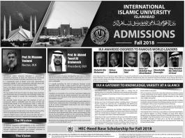 Admissions Open at International Islamic University Islamabad (IIUI)