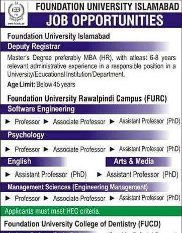 Faculty Required at Foundation University