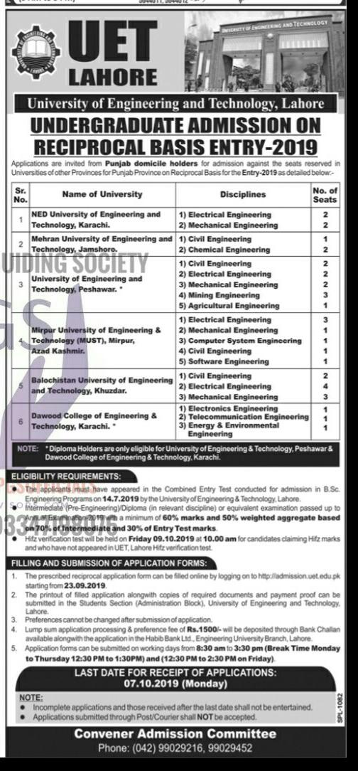 Admissions Open at University of Engineering and Technology (UET)