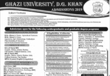 Admissions Open at Ghazi University D.G. Khan